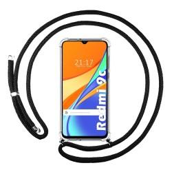 Funda Colgante Transparente para Xiaomi Redmi 9C con Cordon Negro