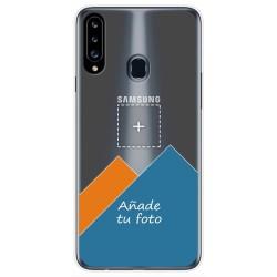 Personaliza tu Funda Gel Silicona Transparente con tu Fotografia para Samsung Galaxy A20s dibujo personalizada