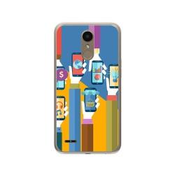 Funda Gel Tpu para Lg K10 2017 Diseño Apps Dibujos