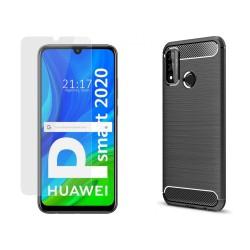 Pack 2 En 1 Funda Gel Tipo Carbono + Protector Cristal Templado para Huawei P Smart 2020