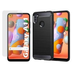 Pack 2 En 1 Funda Gel Tipo Carbono + Protector Cristal Templado para Samsung Galaxy A11 / M11