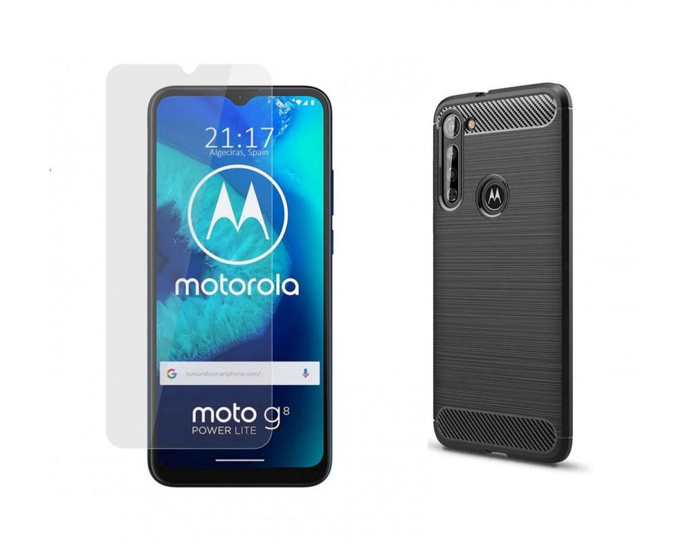 Pack 2 En 1 Funda Gel Tipo Carbono + Protector Cristal Templado para Motorola Moto G8 Power