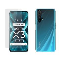 Pack 2 En 1 Funda Gel Transparente + Protector Cristal Templado para Realme X3 SuperZoom / X50 5G