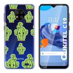 Funda Gel Transparente para Oukitel C19 diseño Cactus Dibujos