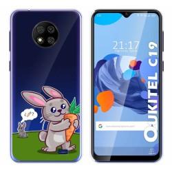 Funda Gel Transparente para Oukitel C19 diseño Conejo Dibujos
