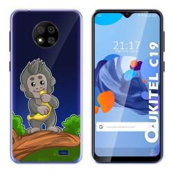 Funda Gel Transparente para Oukitel C19 diseño Mono Dibujos