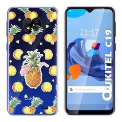 Funda Gel Transparente para Oukitel C19 diseño Piña Dibujos