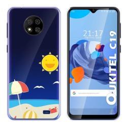 Funda Gel Transparente para Oukitel C19 diseño Playa Dibujos