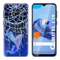 Funda Gel Transparente para Oukitel C19 diseño Plumas Dibujos