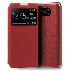 Funda Libro Soporte con Ventana para Xiaomi POCO X3 NFC / X3 PRO color Roja
