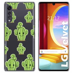 Funda Gel Transparente para LG Velvet 5G diseño Cactus Dibujos