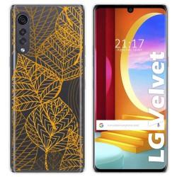 Funda Gel Transparente para LG Velvet 5G diseño Hojas Dibujos