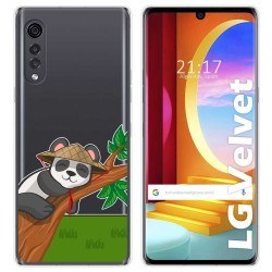 Funda Gel Transparente para LG Velvet 5G diseño Panda Dibujos