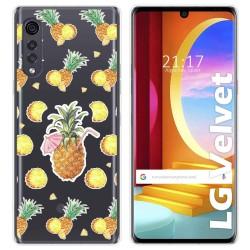 Funda Gel Transparente para LG Velvet 5G diseño Piña Dibujos