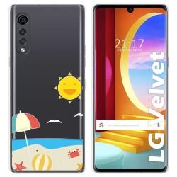 Funda Gel Transparente para LG Velvet 5G diseño Playa Dibujos