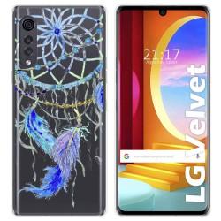 Funda Gel Transparente para LG Velvet 5G diseño Plumas Dibujos