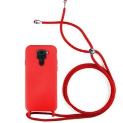 Funda Silicona Líquida con Cordón para Xiaomi Redmi Note 9 color Roja