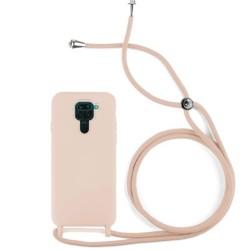 Funda Silicona Líquida con Cordón para Xiaomi Redmi Note 9 color Rosa