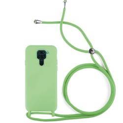Funda Silicona Líquida con Cordón para Xiaomi Redmi Note 9 color Verde