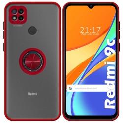 Funda Mate con Borde Rojo y Anillo Giratorio 360 para Xiaomi Redmi 9C