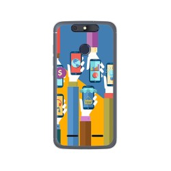 Funda Gel Tpu para Zte Blade V8 Lite Diseño Apps Dibujos