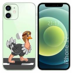 Funda Gel Transparente para Iphone 12 Mini (5.4) diseño Avestruz Dibujos