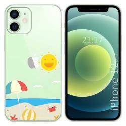 Funda Gel Transparente para Iphone 12 Mini (5.4) diseño Playa Dibujos