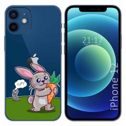 Funda Gel Transparente para Iphone 12 / 12 Pro (6.1) diseño Conejo Dibujos