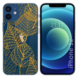 Funda Gel Transparente para Iphone 12 / 12 Pro (6.1) diseño Hojas Dibujos