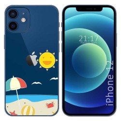 Funda Gel Transparente para Iphone 12 / 12 Pro (6.1) diseño Playa Dibujos