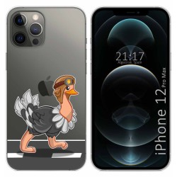 Funda Gel Transparente para Iphone 12 Pro Max (6.7) diseño Avestruz Dibujos