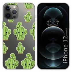 Funda Gel Transparente para Iphone 12 Pro Max (6.7) diseño Cactus Dibujos