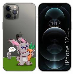Funda Gel Transparente para Iphone 12 Pro Max (6.7) diseño Conejo Dibujos