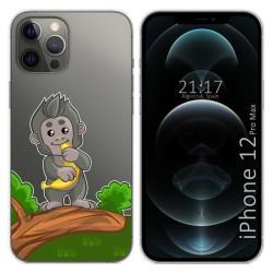 Funda Gel Transparente para Iphone 12 Pro Max (6.7) diseño Mono Dibujos