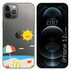 Funda Gel Transparente para Iphone 12 Pro Max (6.7) diseño Playa Dibujos