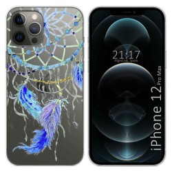 Funda Gel Transparente para Iphone 12 Pro Max (6.7) diseño Plumas Dibujos