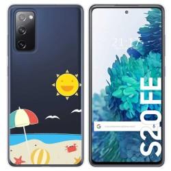 Funda Gel Transparente para Samsung Galaxy S20 FE diseño Playa Dibujos