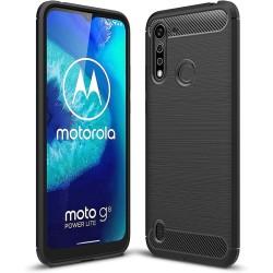 Funda Gel Tpu Tipo Carbon Negra para Motorola Moto G8 Power Lite