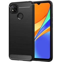 Funda Gel Tpu Tipo Carbon Negra para Xiaomi Redmi 9C