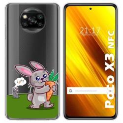 Funda Gel Transparente para Xiaomi POCO X3 NFC diseño Conejo Dibujos