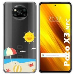 Funda Gel Transparente para Xiaomi POCO X3 NFC diseño Playa Dibujos