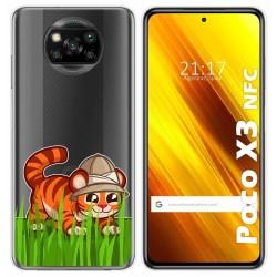 Funda Gel Transparente para Xiaomi POCO X3 NFC diseño Tigre Dibujos
