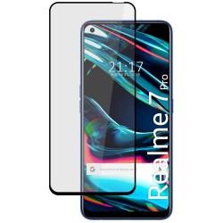 Protector Cristal Templado Completo 5D Full Glue Negro para Realme 7 Pro Vidrio
