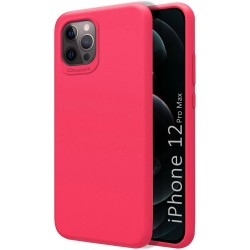 Funda Silicona Líquida Ultra Suave para Iphone 12 Pro Max (6.7) color Rosa Fucsia