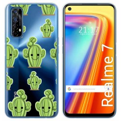 Funda Gel Transparente para Realme 7 diseño Cactus Dibujos