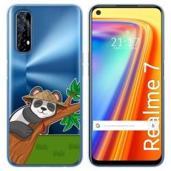 Funda Gel Transparente para Realme 7 diseño Panda Dibujos