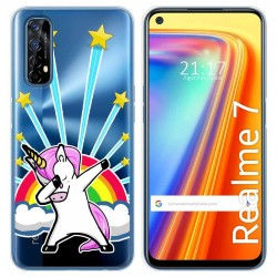 Funda Gel Transparente para Realme 7 diseño Unicornio Dibujos
