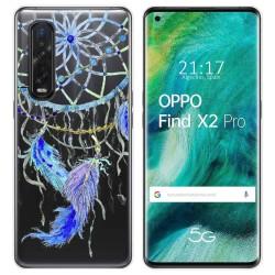 Funda Gel Transparente para Oppo Find X2 Pro diseño Plumas Dibujos