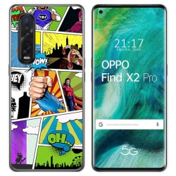 Funda Gel Tpu para Oppo Find X2 Pro diseño Comic Dibujos