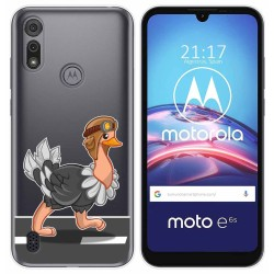 Funda Gel Transparente para Motorola Moto e6s diseño Avestruz Dibujos
